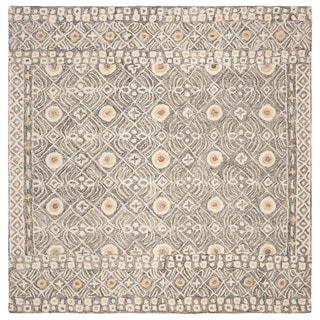 Safavieh Hand-Tufted Micro-Loop Transitional - Charcoal/Ivory Wool Rug - 5' x 5' Square