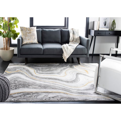 """Safavieh Craft Modern & Contemporary - Grey/Gold Polyester Rug - 6'7"""" x 6'7"""" Square"""