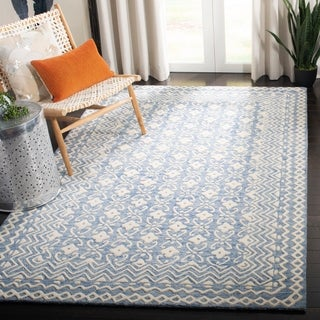 Safavieh Hand-Tufted Blossom Floral & Botanical - Blue/Ivory Wool Rug - 6' x 6' Square