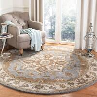 Safavieh Hand-Tufted Royalty Traditional - Light Blue/Beige Wool Rug - 7' x 7' Round