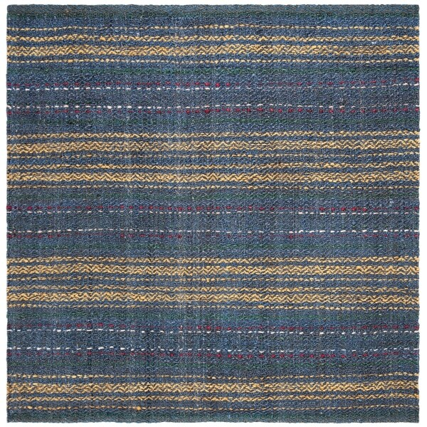 Safavieh Hand-Woven Natural Fiber Casual - Blue/Gold Rug - 6' x 6' Square