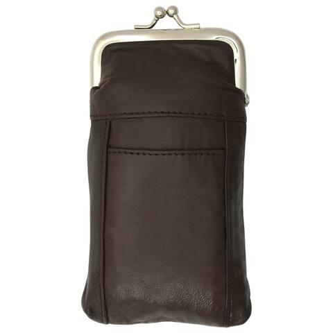 AFONiE Soft Leather Kiss Lock Pouch