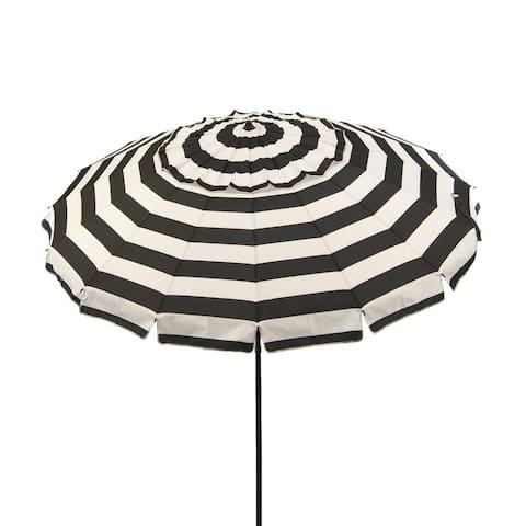 8 ft Black and White Stripe Deluxe Beach/Patio Umbrella