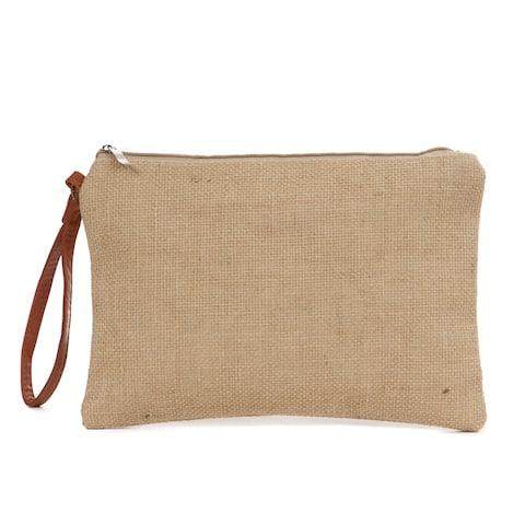 Toiletry Burlap Cosmetic Bag - Beige
