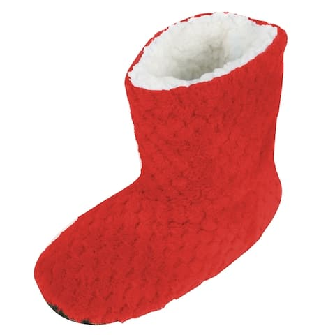 Sherpa Lined Slippers Textured Red Bootie Slippers Womens Slippers