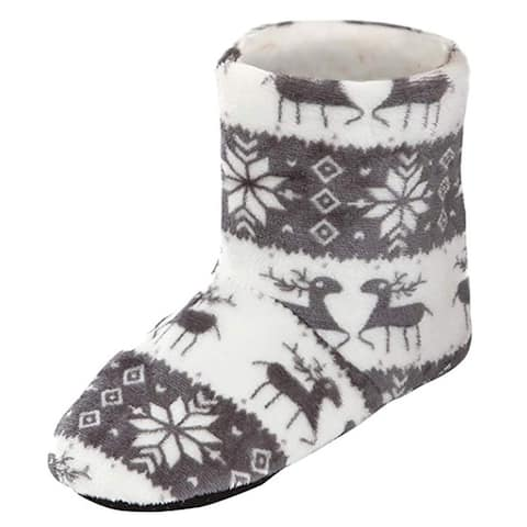 Sherpa Lined Slippers Reindeer Bootie Slippers