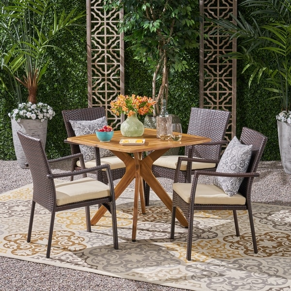 Didicas Outdoor 5 Piece Wood and Wicker Dining Set by Christopher Knight Home