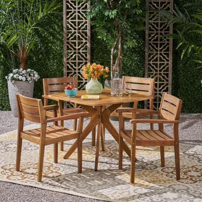 Stamford Outdoor 5 Piece Acacia Wood Dining Set wit X Base by Christopher Knight Home