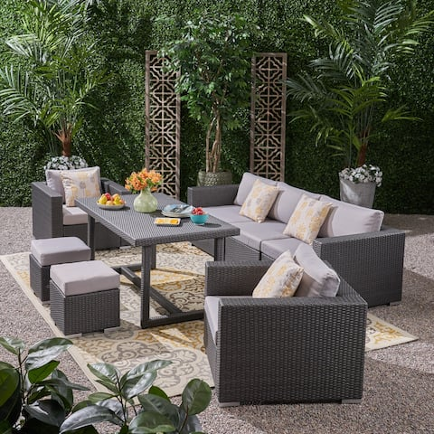 Santa Rosa Outdoor 7 Seater Wicker and Aluminum Sofa Dining Set by Christopher Knight Home