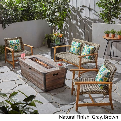 Hampton Outdoor 4 Piece Wood and Wicker Chat Set with Fire Pit by Christopher Knight Home