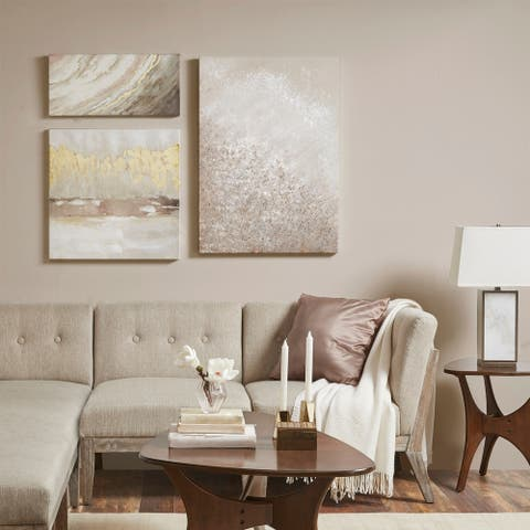 Madison Park Glistening Dream Multi Hand Embellished Canvas Set of 3 - Multi-color