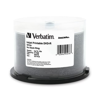 Verbatim DVD-R 4.7GB 16X DataLifePlus White Inkjet Printable - 50pk S