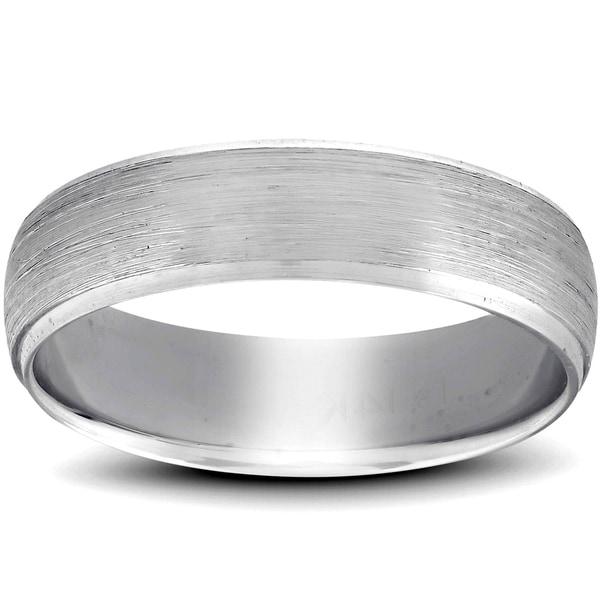 Pompeii3 Platinum Brushed Mens Wedding Band 6mm Beveled Polished Edges. Opens flyout.