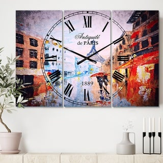 Designart 'Couple Walking in Paris' Cottage 3 Panels Large Wall CLock - 36 in. wide x 28 in. high - 3 panels