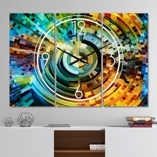Designart 'Paths of Stained Glass' Modern 3 Panels Oversized Wall CLock - 36 in. wide x 28 in. high - 3 panels