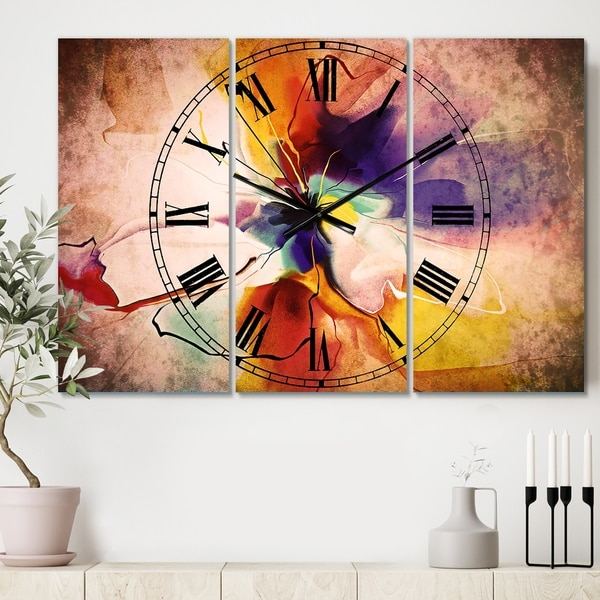 Designart 'Creative Flower in Multiple Colors' Cottage 3 Panels Large Wall CLock - 36 in. wide x 28 in. high - 3 panels