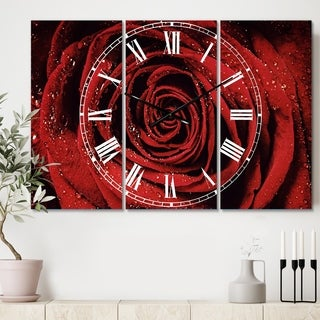 Designart 'Red Rose Petals with Rain Droplets' Cottage 3 Panels Oversized Wall CLock - 36 in. wide x 28 in. high - 3 panels