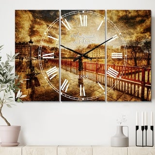 Designart 'Bridge in Rain' Cottage 3 Panels Oversized Wall CLock - 36 in. wide x 28 in. high - 3 panels
