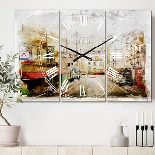 Designart 'Paris Illustration' Cottage 3 Panels Oversized Wall CLock - 36 in. wide x 28 in. high - 3 panels