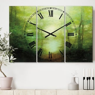 Designart 'Into the Clearing Forest' Cottage 3 Panels Large Wall CLock - 36 in. wide x 28 in. high - 3 panels