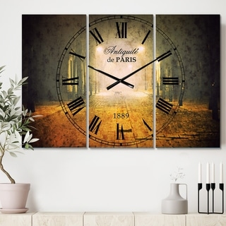 Designart 'Urban Street at Night' Cottage 3 Panels Oversized Wall CLock - 36 in. wide x 28 in. high - 3 panels