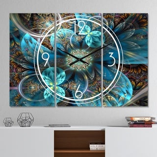 Designart 'Fractal Blue Flowers' Modern 3 Panels Large Wall CLock - 36 in. wide x 28 in. high - 3 panels