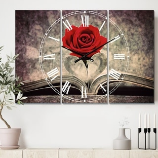 Designart 'Red Rose Inside the Book' Cottage 3 Panels Oversized Wall CLock - 36 in. wide x 28 in. high - 3 panels