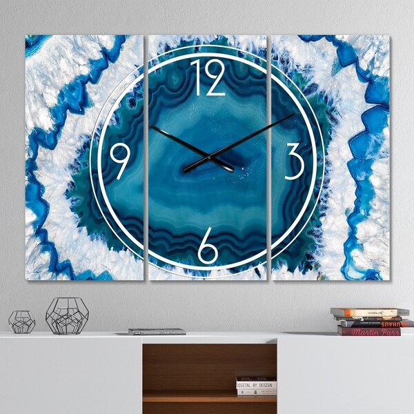 Designart 'Blue Agate Crystal' Modern 3 Panels Oversized Wall CLock - 36 in. wide x 28 in. high - 3 panels