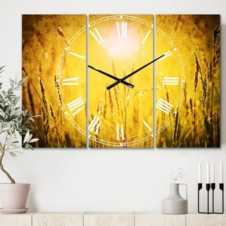 Designart 'Yellow Grass Flower at Sunset' Cottage 3 Panels Oversized Wall CLock - 36 in. wide x 28 in. high - 3 panels