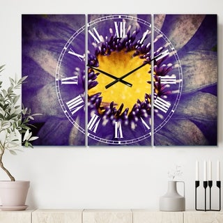Designart 'Blue Lotus Close up Watercolor' Cottage 3 Panels Large Wall CLock - 36 in. wide x 28 in. high - 3 panels
