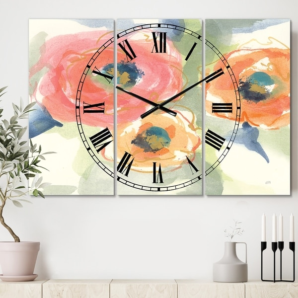 Designart 'Multicolor Buttercup II' Cottage 3 Panels Oversized Wall CLock - 36 in. wide x 28 in. high - 3 panels