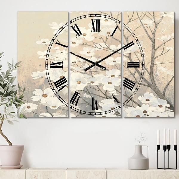 Porch & Den 'Brown onn Grey Blossoms' 3-panel Metal Clock