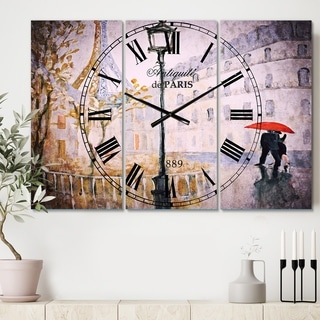 Designart 'Love in Paris V' Cottage 3 Panels Large Wall CLock - 36 in. wide x 28 in. high - 3 panels