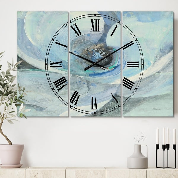 Designart 'Watercolor Moonlight Magnolia I' Cottage 3 Panels Oversized Wall CLock - 36 in. wide x 28 in. high - 3 panels