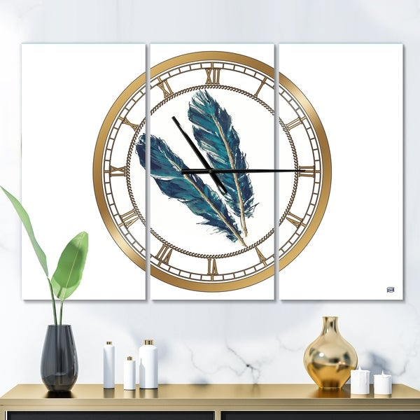 Designart 'Gold Indigo Feathers III' Glam 3 Panels Oversized Wall CLock - 36 in. wide x 28 in. high - 3 panels