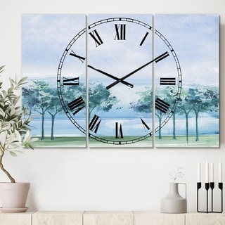 Designart 'Tree Across the Lake' Cottage 3 Panels Large Wall CLock - 36 in. wide x 28 in. high - 3 panels