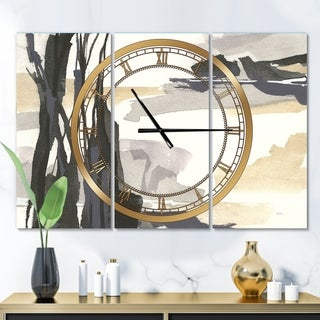 Designart 'Glam Dancing shape II' Glam 3 Panels Large Wall CLock - 36 in. wide x 28 in. high - 3 panels