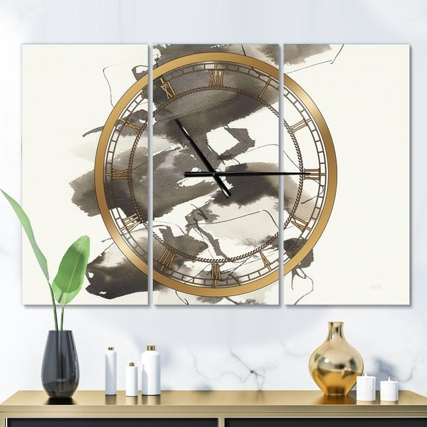 Designart 'Geometric Glam Square I' Glam 3 Panels Oversized Wall CLock - 36 in. wide x 28 in. high - 3 panels