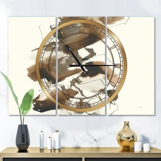 Designart 'Gold Glam Squares I' Glam 3 Panels Oversized Wall CLock - 36 in. wide x 28 in. high - 3 panels