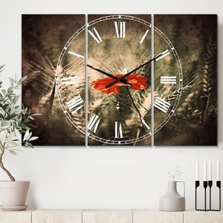 Designart 'Sigle Red Poppies' Cottage 3 Panels Large Wall CLock - 36 in. wide x 28 in. high - 3 panels