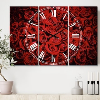 Designart 'Winter Red Rose' Cottage 3 Panels Large Wall CLock - 36 in. wide x 28 in. high - 3 panels