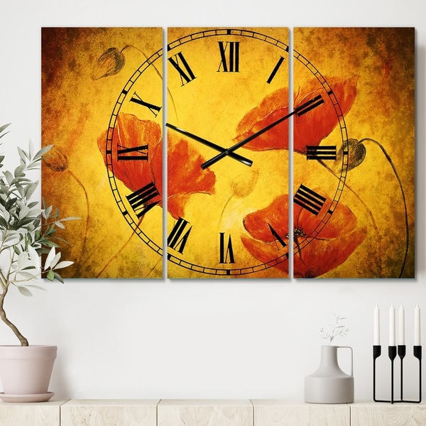 Designart 'Red Poppy Flower' Cottage 3 Panels Oversized Wall CLock - 36 in. wide x 28 in. high - 3 panels