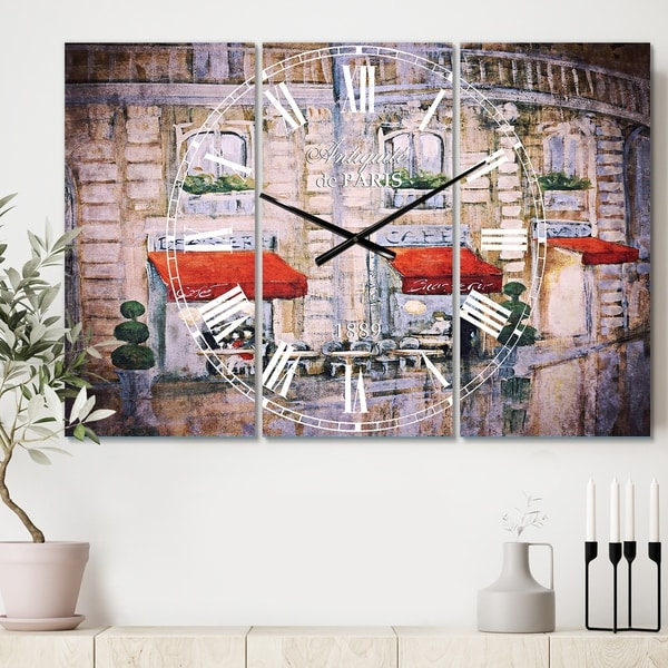 Designart 'Love in Paris II' Cottage 3 Panels Oversized Wall CLock - 36 in. wide x 28 in. high - 3 panels