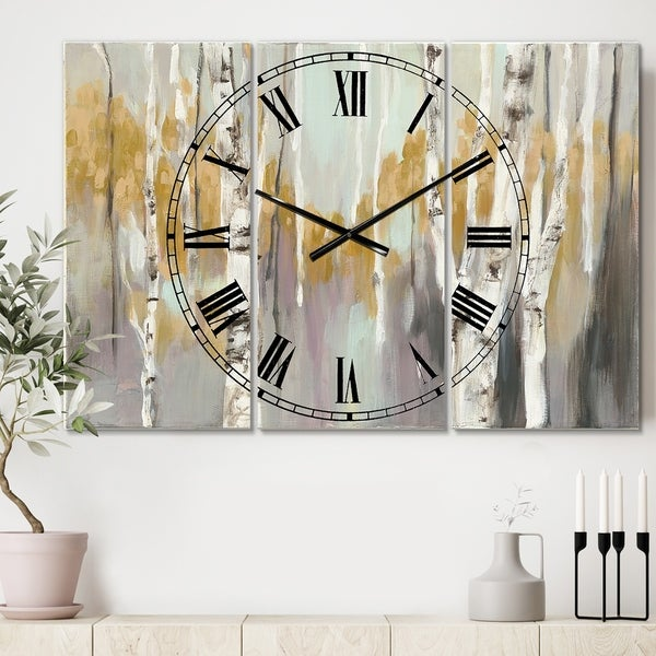 The Gray Barn Jartop 'Silver and Yellow Birch Forest II' 3-panel Oversized Metal Clock
