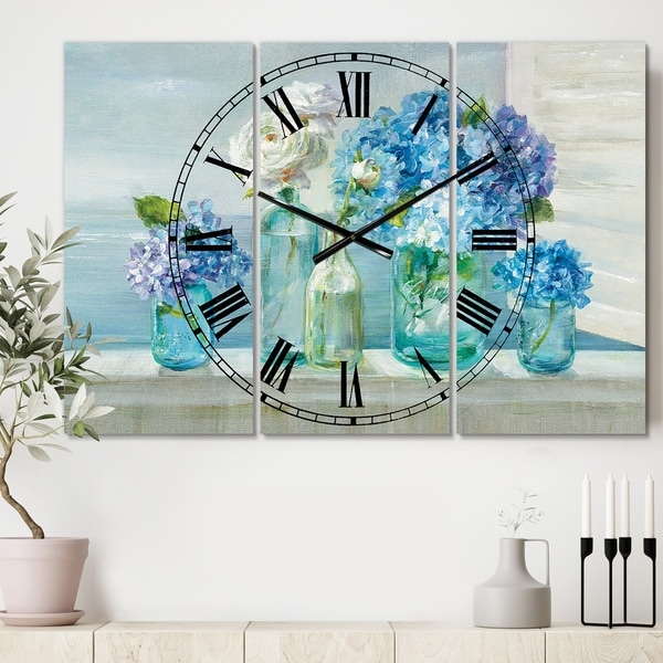 Designart 'Coastl Flowers Bouquets' Cottage 3 Panels Large Wall CLock - 36 in. wide x 28 in. high - 3 panels
