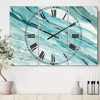 Designart 'Silver Springs I Blue Green' Cottage 3 Panels Large Wall CLock - 36 in. wide x 28 in. high - 3 panels