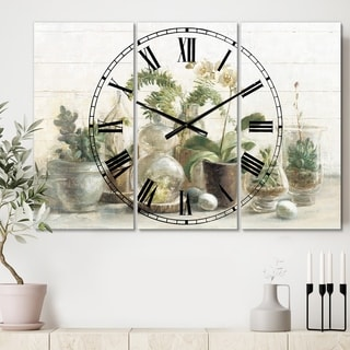 Designart 'Greenhouse Orchids' Cottage 3 Panels Oversized Wall CLock - 36 in. wide x 28 in. high - 3 panels