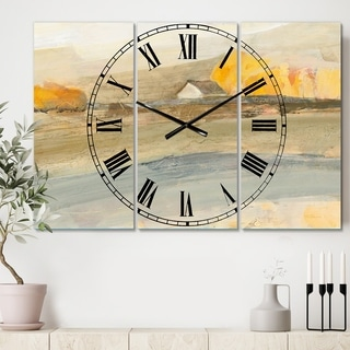 Designart 'Coming on Farmhouse Landscape' Cottage 3 Panels Large Wall CLock - 36 in. wide x 28 in. high - 3 panels