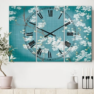 Designart 'Blue Cherry Blossoms I' Cottage 3 Panels Large Wall CLock - 36 in. wide x 28 in. high - 3 panels