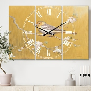 Designart 'Gold Bird on Blossoms I' Cottage 3 Panels Oversized Wall CLock - 36 in. wide x 28 in. high - 3 panels
